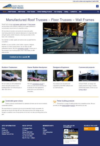 south-pacific-roof-trusses website design